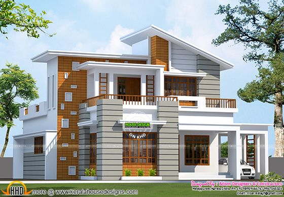 Slanting roof mix house in Kerala