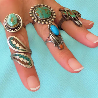 Old Pawn Vintage Native American Rings in Turquoise and Coral
