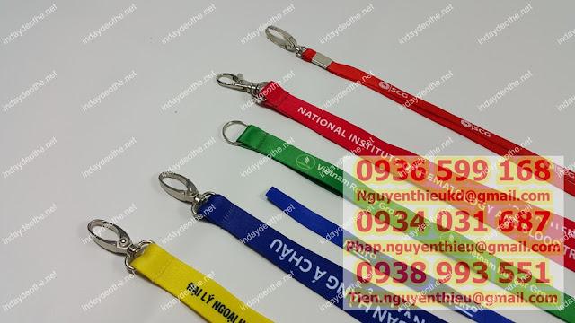 Cơ sở in logo dây đeo thẻ quảng cáo theo yêu cầu tại tphcm, dây cotton,dây poly, dây PP, dây đeo thẻ