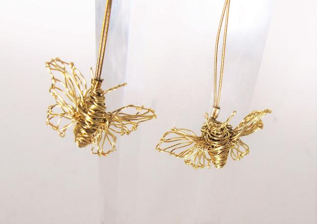 14k gold butterfly earrings, art earrings