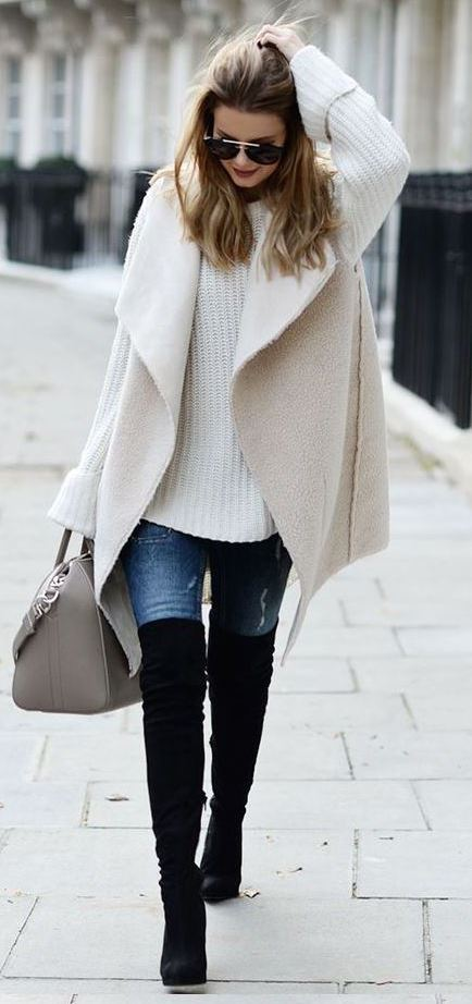 how to wear a white knit sweater : nude vest + bag + skinny jeans + over knee boots