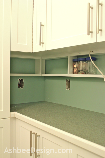 Glass Shelves Between Kitchen Cabinets