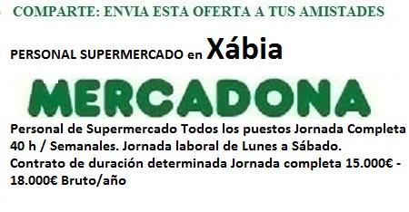 Xábia, Alacant. Lanzadera de Empleo Virtual. Oferta Mercadona