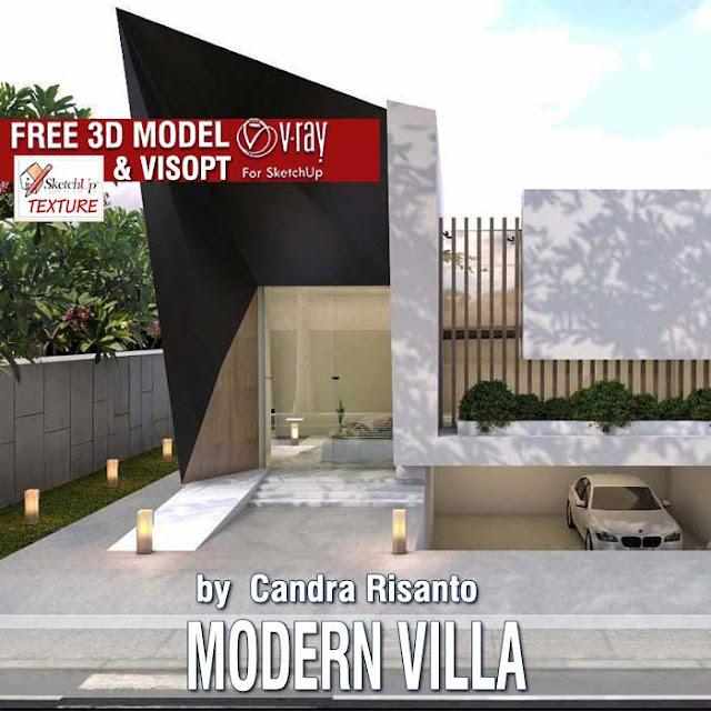 free sketchup 3D model Modern villa #51 and vray exterior visopt