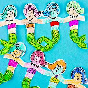 how to cut mermaid paper chains with kids