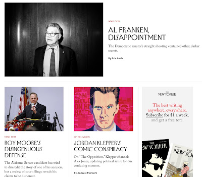 Liberal websites absorb/process the Al Franken news, part 2: The New Yorker.