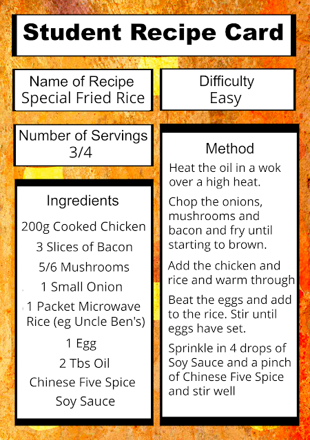 Free Printable Student Recipe Card: Easy Special Fried Rice