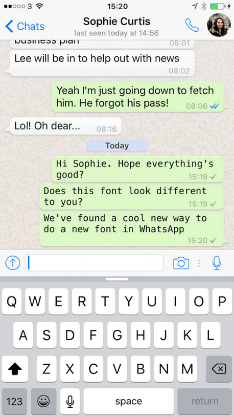 mengganti font WhatsApp di iOS