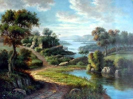 American Paint And Wallpaper Fall River Landscape Art Desktop Wallpapers