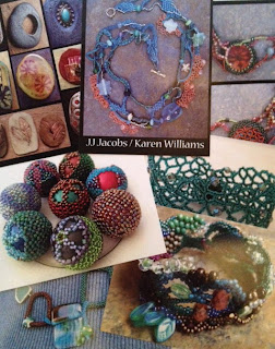 Bead related postcards featuring designs by Karen Williams