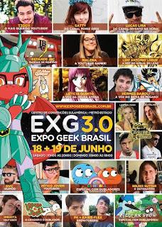 Nos dias 18 e 19 de Junho  3ª edição da Expo Geek Brasil,  o mais completo e multitemático evento geek  do Rio de Janeiro