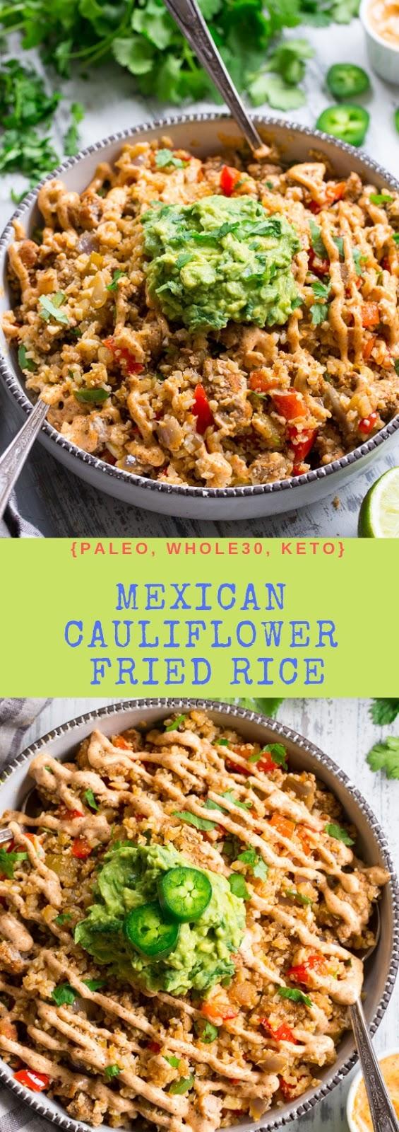 Mexican Cauliflower Fried Rice {Paleo, Whole30, Keto} #maincourse #dinner #mexican #cauliflower #fried #rice #paleo #whole30 #keto