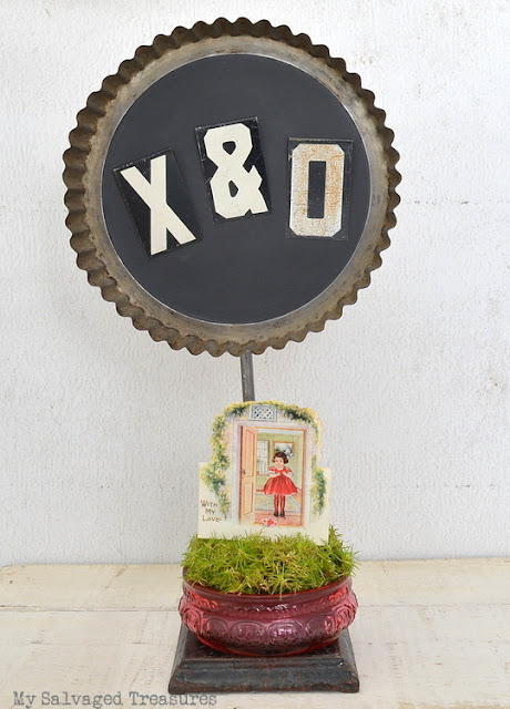 Valentine's Day Greeting made with vintage bits and pieces