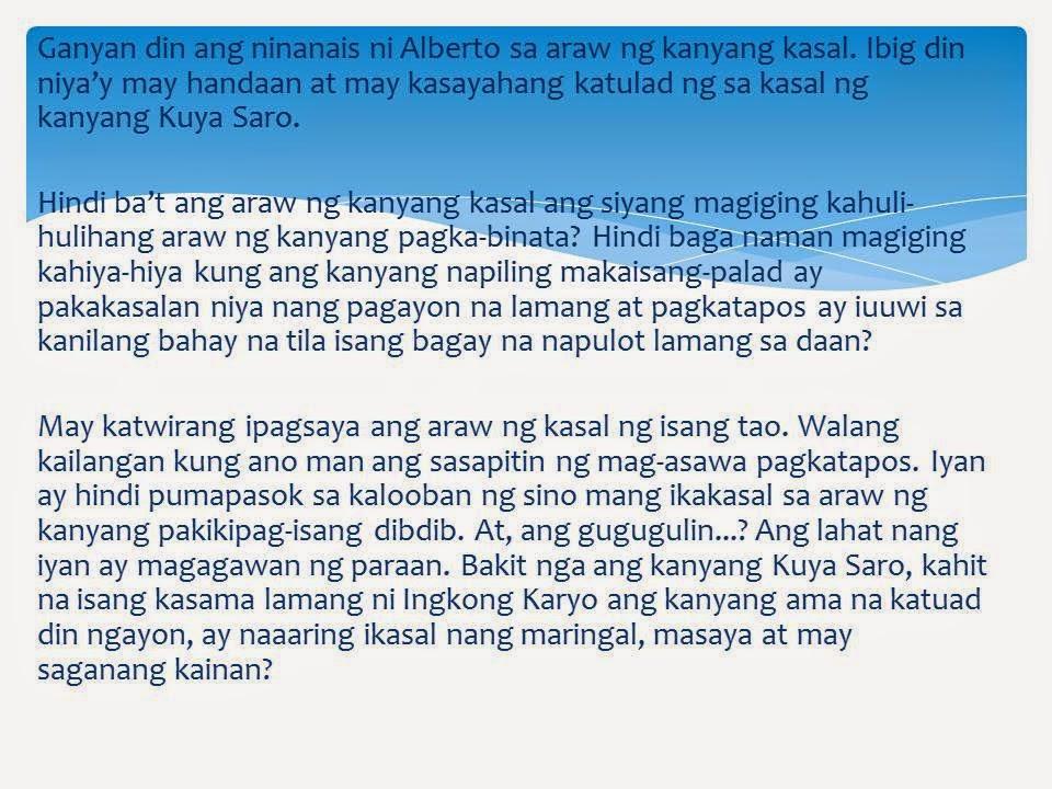 halimbawa ng sanaysay tagalog Time: 13052012 author: sopame mga halimbawa ng obitwaryo ano ang mga bahagi ng balita - the q&a wiki in tagalog front page,obituary,editorial,sports page,lifestyle,business.