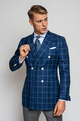 Kruvaze ceket mavi çizgili