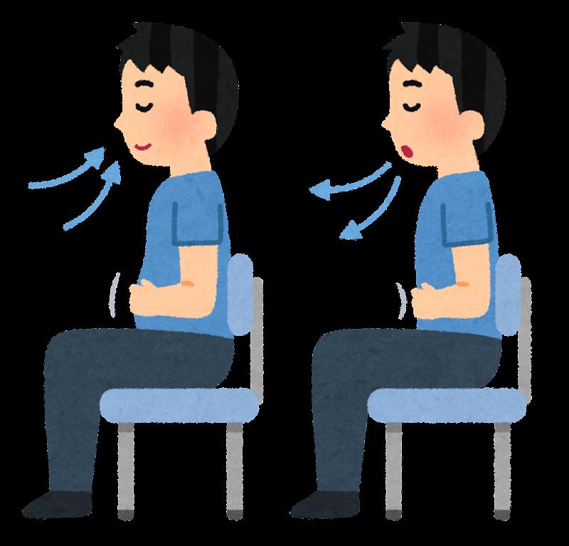 腹式呼吸する男性