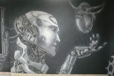 Malowanie grafiki na ścianie mural UV, Łuków LLU Burger King, malowidło ścienne, graffiti 3D
