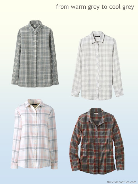 grey plaid shirts from warm grey to cool grey