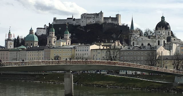 salzburg skyline with fortress, makartsteg bridge