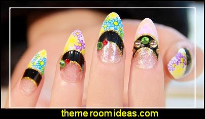Flower printed French style vintage false nail art