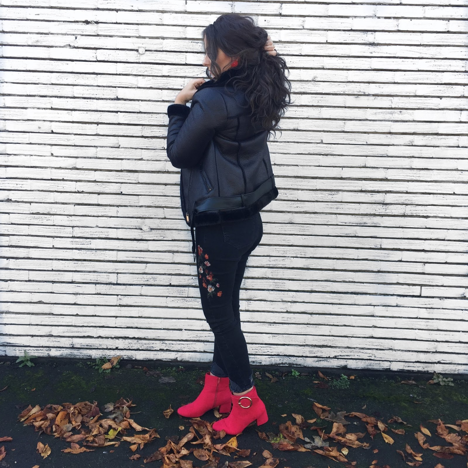 FASHION || The Aviator Jacket Takes Off featuring Primark highstreet aviator jacket and red boots.