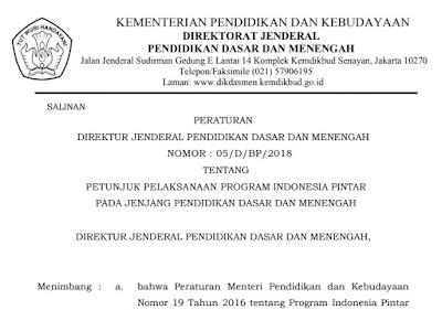 Download Juknis Program Indonesia Pintar (PIP) Tahun 2018 Jenjang SD SMP SMA SMK