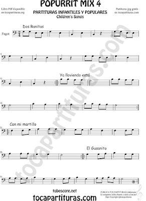 Mix 4 Partitura de Fagot Dos Ranitas, Ya lloviendo está, Con mi Martillo, El Gusanito Popurrí Mix 4 Sheet Music for Bassoon Music Scores