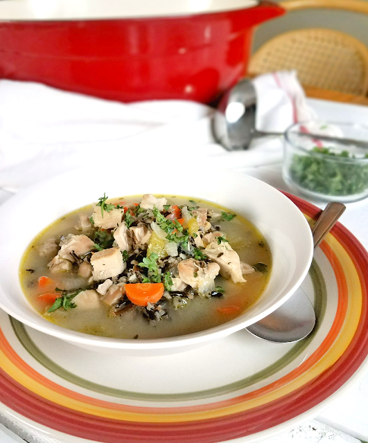 Gluten-free chicken and rice soup made with carrots, celery, onions, garlic and bone broth for maximum healing properties during a cold or flu!