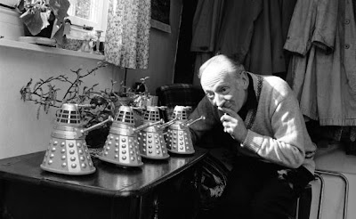 21st April 1965:  British actor, William Hartnell (1908 - 1975) at home in Mayfield, Sussex with four miniature model Daleks - arch enemies of Hartnell's character Dr Who in the BBC's science-fiction series of the same name. Hartnell was the first of a series of actors to play the role.  (Photo by Chris Ware/Keystone Features/Getty Images)