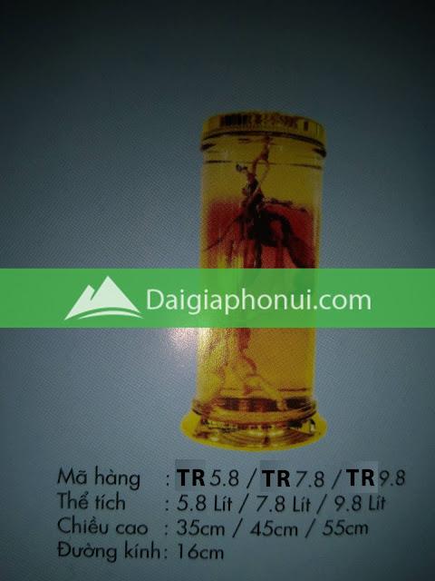thông số bình ngâm rượu Phú Hoà mã số TR 5.8, 7.8 & 9.8 LÍT