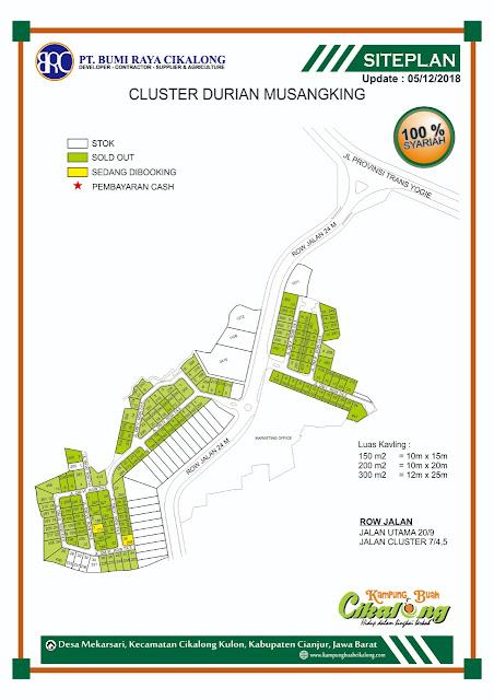 site plan investasi properti syariah cluster durian musang king kampung buah cikalong