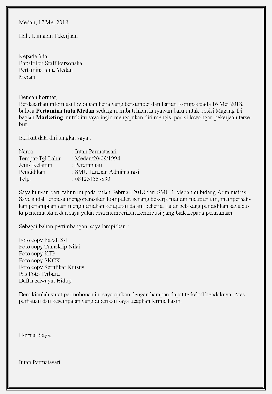 Contoh Surat Lamaran Kerja Bumn Terbaik Di Indonesia Contoh Surat