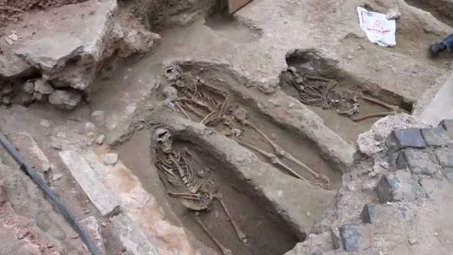 O cemitério foi encontrado na região entre as ruas Martim Moniz e Madalena