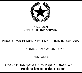 PP Nomor 29 Tahun 2019 tentang Syarat dan Tata Cara Penunjukan Wali