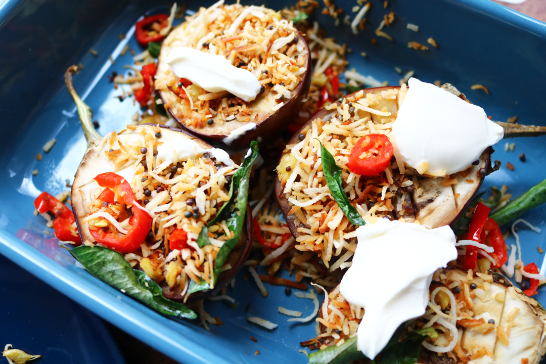 Coconut & Chilli Stuffed Baby Aubergines (Vegetarian/Vegan recipe)