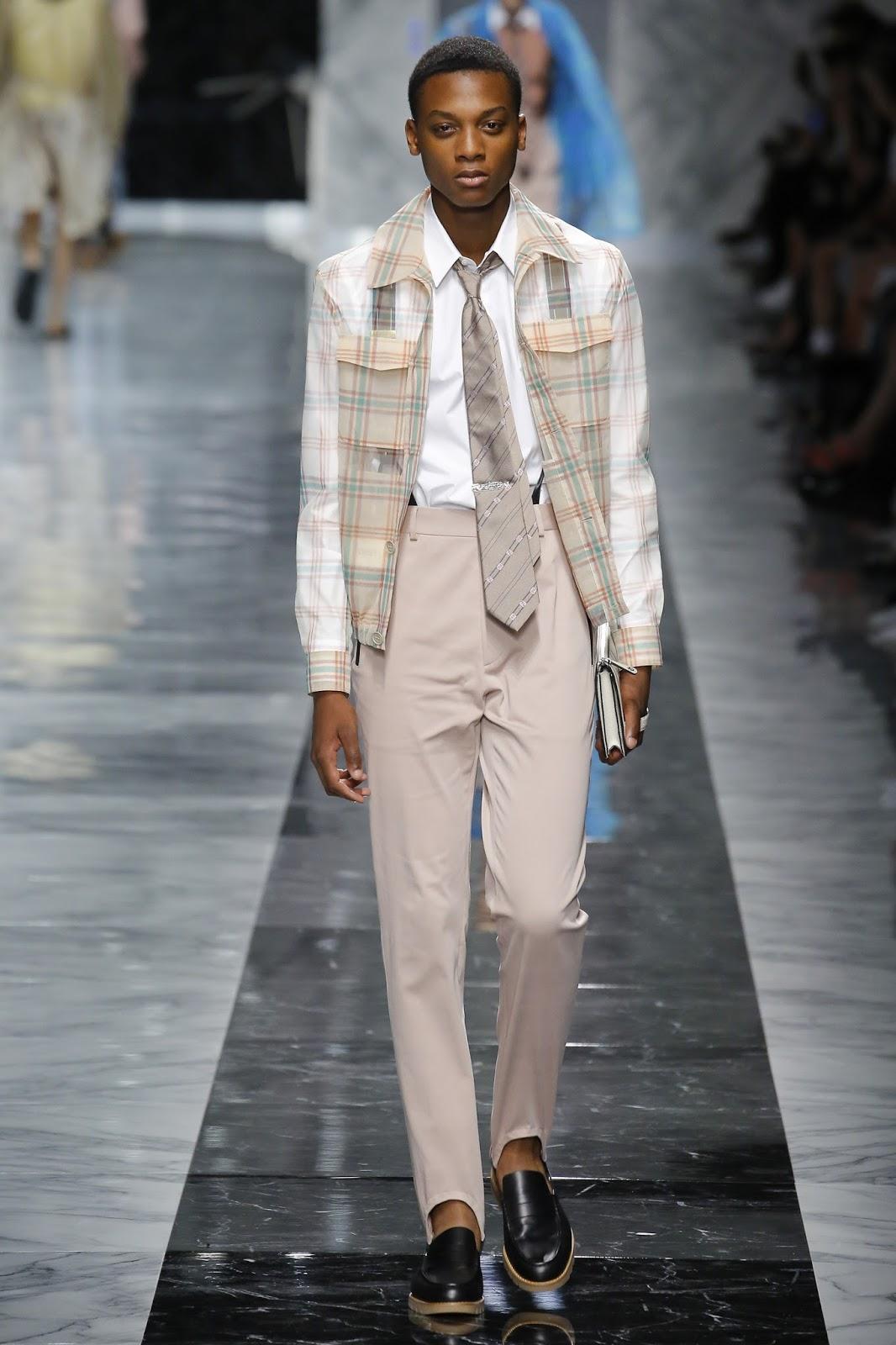 fc84d169b1775 ... strada tra American Psycho e la moda maschile anni  80. Su tutta la collezione  primavera estate 2018 torna prepotente il logo della doppia F