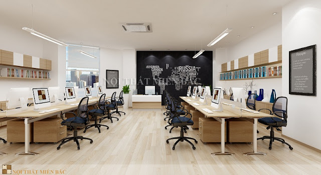 Thiết kế nội thất văn phòng với những chiếc bàn dài có kiểu dáng đơn giản nhưng bắt mắt được sắp xếp thành hai dãy tạo không gian đi lại thoải mái