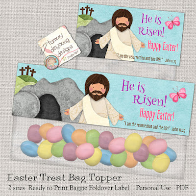 Religious easter decorations tammy deyoung designs easter treat bag toppers with jesus christ religious theme negle Image collections