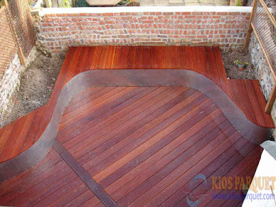 contoh lantai kayu outdoor   Decking kayu bengkirai terpasang