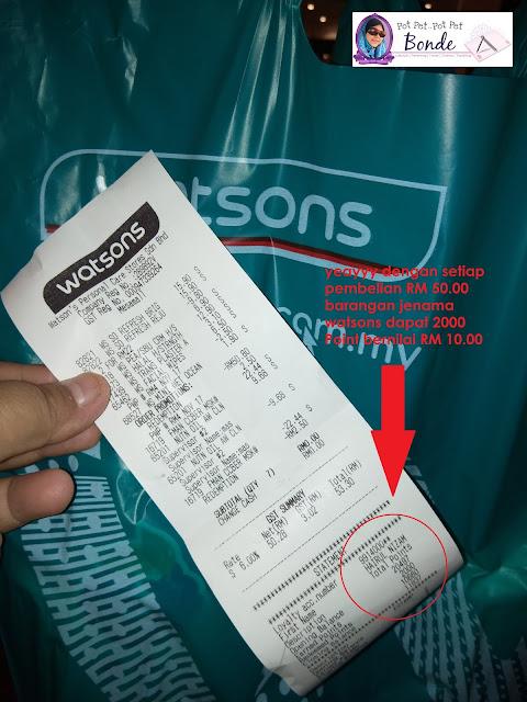WATSONS DAPAT 2000 MATA GANJARAN BERNILAI RM 10.00, WATSONS BRAND,