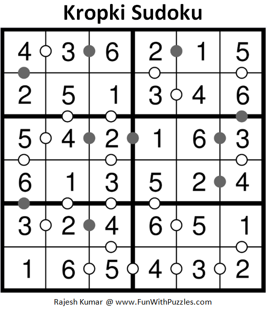 Kropki Sudoku (Mini Sudoku Series #77) Solution