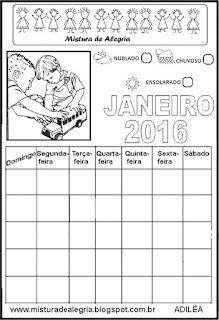 Calendário janeiro 2016 colorir