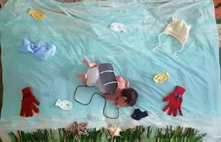Ideas para fotos de bebés - buceando en el fondo del mar