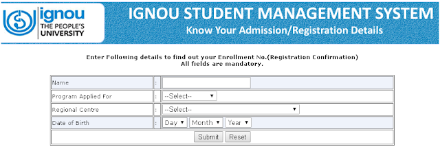 IGNOU Admission Status By Name