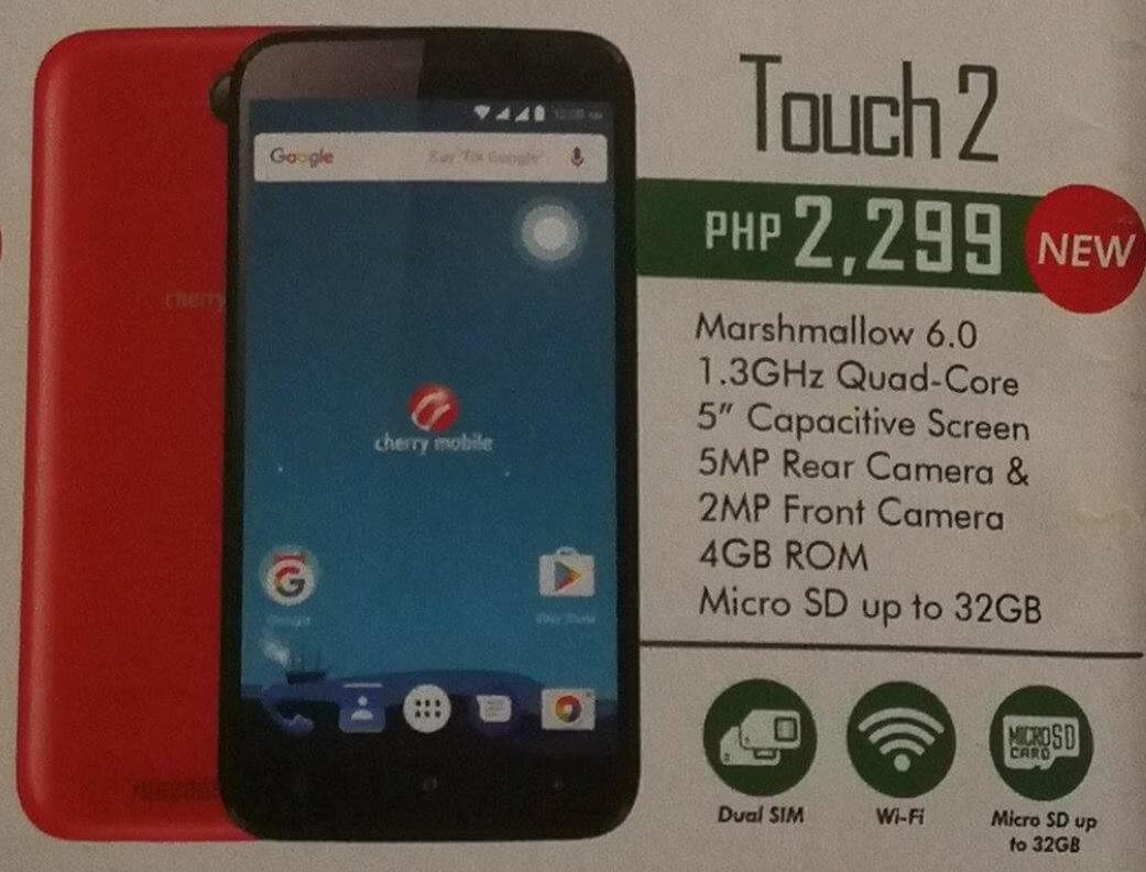 Cherry Mobile Touch 2 Spotted; Quad Core Android Marshmallow for Php2,299