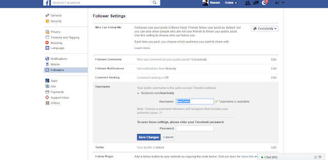Facebook Followers Settings change add username