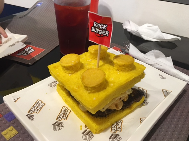 LEGO burger at Brick Burger