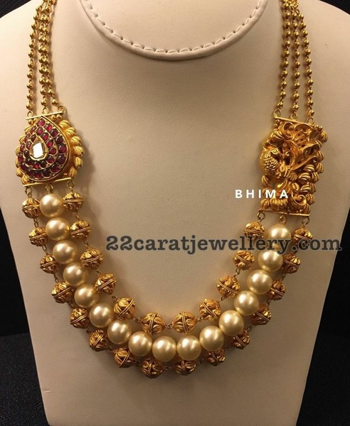 3 Layer Beads Necklaceby Bhima Jewels Jewellery Designs