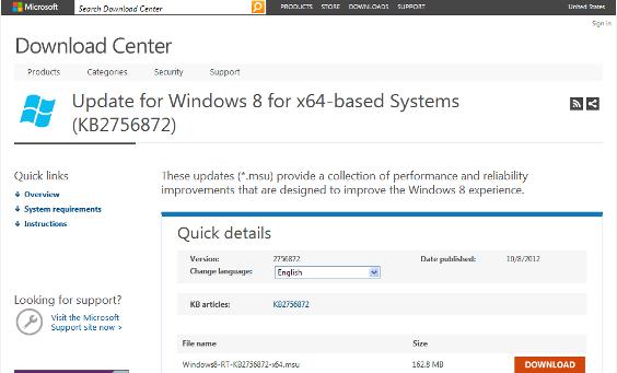 Windows 8 : Mise à jour kb2756872