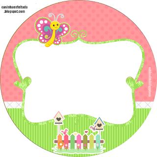Toppers o Etiquetas para Imprimir Gratis de   Mariposas en el Jardín.